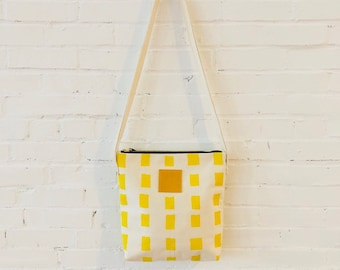 """Lemon, Squares, Crossbody Bag, 18"""" drop, Heavy Canvas, Twill Straps, Leather Pull, Industrial Zip"""