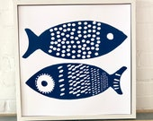 Navy Double Tuna Pattern Paper print signed Silk Screened Art Print on white Paper, READY TO SHIP