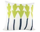 Leaf Trees 20in Pillow in Vintage Green Navy