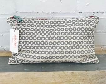 Gray Deco Dot clutch zipper bag