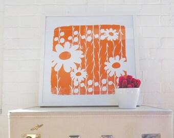 Orange Daisy Silk Screened Art Print on white Paper