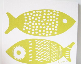 Yellow Fish Framed Art, Stretched Cotton Bark Cloth on Wooden Frame, Silk Screen Print