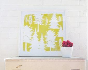 Yellow Pine Tree Pine Cone Silk Screened Art Print on white Paper