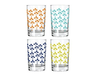 Juice Glasses, silk screened, Lolli Pop Circle design. Choose all one color or a variety of all  (you choose)