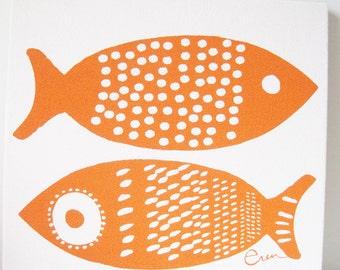 Orange Fish Framed Art, Stretched Cotton Bark Cloth on Wooden Frame, Silk Screen Print