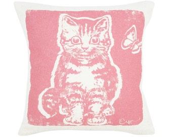 Decorative Pillow, Cushion, Pink Kitten, 10x10, Silk Screened Cotton Bark Cloth