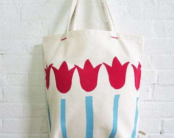 Red Tulip Carry All Canvas tote hand printed and sewn in Maine