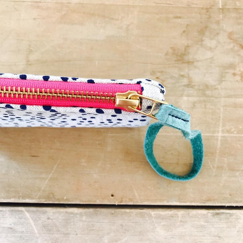Navy Polka Dot Linen Wristlet