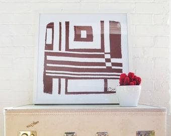 Bold Geometric Brown Silk Screened Art Print on white Paper
