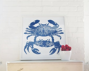 Navy Crabs signed Silk Screened Art Print on white Paper