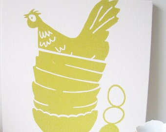 """Yellow Hen Chicken in Vintage Stacked Bowls, 19"""" Square Framed Art, Stretched Cotton Bark Cloth on Wooden Frame, Silk Screen Print"""