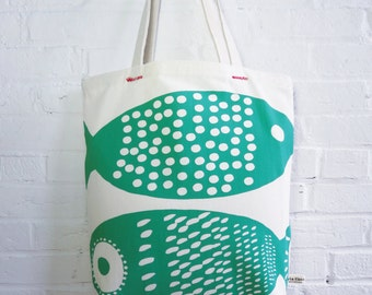 Fish Canvas Tote Bags, hand printed and sewn in Maine