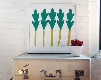 Silk Screened Art Print Teal and Green Leaf Tree on Paper