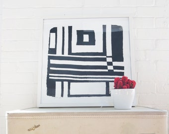 Black Mod Geometric Silk Screened Art Print on white Paper
