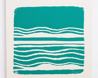 Wall Art, Teal Abstract Design Framed Cloth Print, 19x19, Bark Cloth Silk Screened