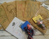 Embroidery kit with animals, DIY gifts for kids, learn how to embroider with 4 Portuguese animals, Kid craft kit, Portugal rooster & sardine
