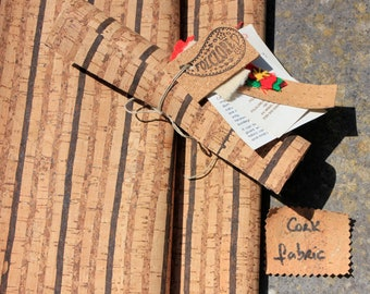 Cork fabric pattern w/ tricolor stripes. PETA vegan leather for handbags, shoemaking, home interior projects, upholstery, leather works