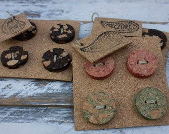 Handmade cork buttons sewing supplies, 4pcs set, macrame large two-hole buttons, eco-friendly for crafts, decorative gift, organic knitting