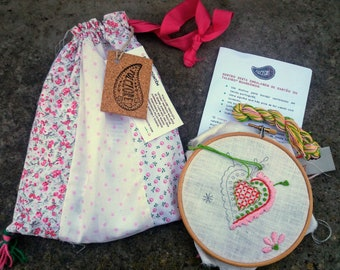 DIY Heart embroidery kit for beginners, great craft self gift, best DIY project gift ideas for best friends, instructions and supplies