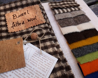 Burel fat quarter in a natural dark brown checkered pattern, boil wool fabric made in Portugal, heavyweight, easy working perfect for crafts