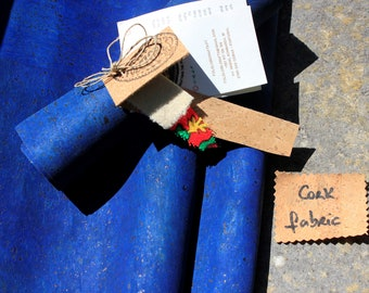 Royal blue cork textile, colored cork fabric handmade in Portugal, for sewing projects or leather crafts, cobalt vegan leather alternative