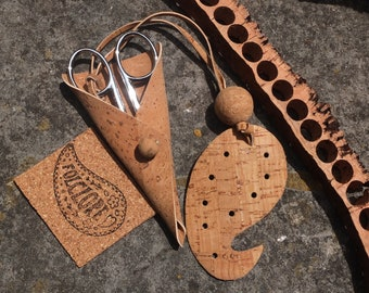 Cork leather embroidery scissors sheath /case & heart fob, vegan crafter gift for her, natural, blue, silver, Portuguese scissors