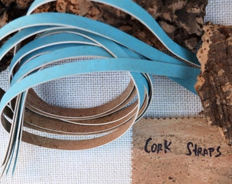 """Genuine cork leather lace, blue and natural, 2 x 1meter (39 3/8""""), 1cm wide (3/8""""), Portuguese cork fabric for bracelets, necklace, Jewelry"""