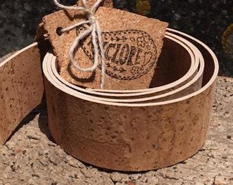 Cork leather strap, handle for handbag, belt, guitar, dog collar, camera strap, plant hanger, animal free Portuguese reversible cork fabric