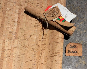 Plant-based leather alternative made from cork sheets and cotton, handcrafted in Portugal, pre-cut striped leather pattern for sewing