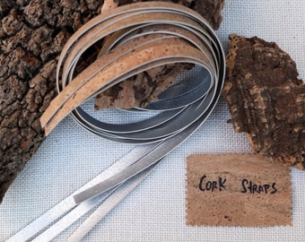 """Cork leather flat cord, silver (gray) and natural, 2x 1meter (39 3/8""""), 1cm wide (3/8""""), genuine leather cork straps, DIY Jewelry projects"""