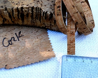 """Natural cork strap 1cm wide (3/8""""), pack w/ 2 strips 1m/ (approx.) yard long, cork cord for vegan jewelry & sustainable fashion accessories"""