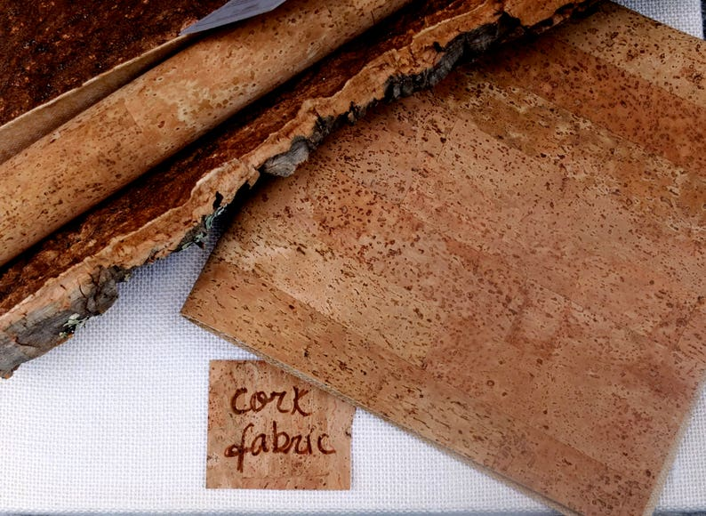 Natural cork fabric for sewing vegan leather in fat quarter image 0