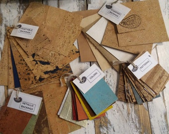 Cork Fabric Samples - cotton, denim and metallic backings, reversible cork leather scraps, assorted colors, patterns & gold flecks swatches