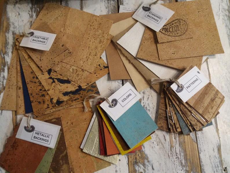Cork Fabric Samples  cotton denim and metallic backings image 0