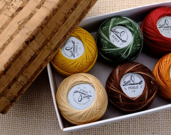 Pearl cotton nº8  balls in a cork box, DIY gift for Christmas, Fall colors thread, 6 embroidery floss balls Autumn colors, variegated colors