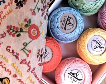Perle cotton 8, DIY craft gift for best friends, set of 6 Portuguese embroidery thread, present for embroiderer, pastel colors floss