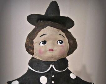 Little witch - clay art doll- paper mache - OOAK doll- handmade art doll- folk art spool doll