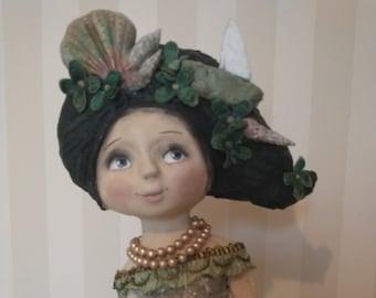 Mermaid art -Art doll-papier mache-OOAK-handmade cottage décor  art