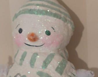 Snowman ornament- art doll- OOAK doll- handmade art doll- folk art
