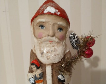 Santa Claus with toy- paper mache- vintage style- art doll- Christmas