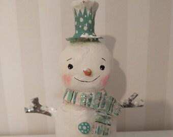 Christmas Snowman paper mache  folk art OOAK art doll papier mache