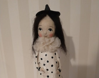 Handmade witch- Halloween girl- OOAK art doll- Halloween art folk art-
