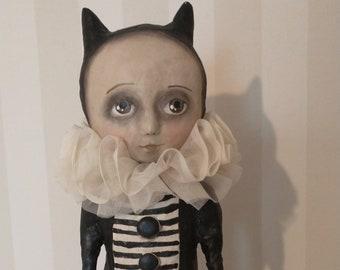 Cat girl - Halloween girl- OOAK art doll- Halloween art folk art-
