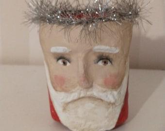 Santa ornament- candy container - OOAK doll- handmade art doll- folk art