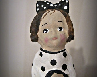 Little black and white girl with doll - clay art doll- paper mache - OOAK doll- handmade art - folk art spool doll