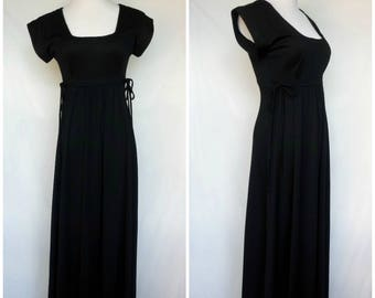 1970s Maxi Dress, Saks Fifth Avenue Young Dimensions, Empire Waist, Black, XS