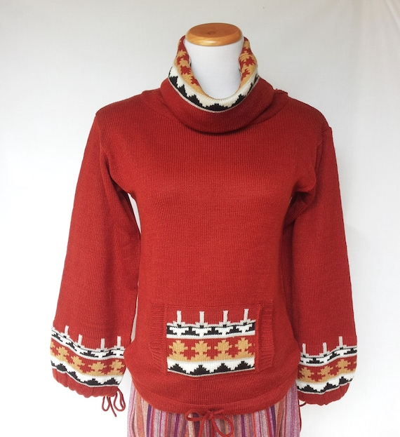 affc92f809 1970s Cowl Neck Sweater Aztec Inspired Decoration Acrylic