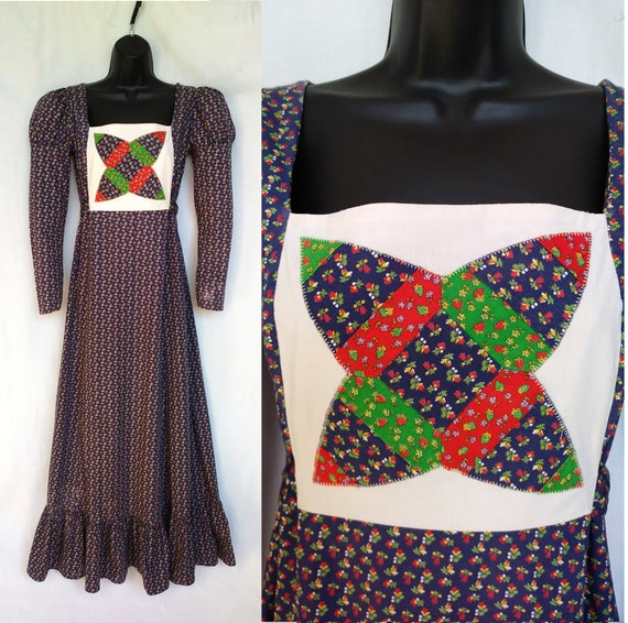 Vintage 1970s Maxi Dress, Mountain Artisans, India