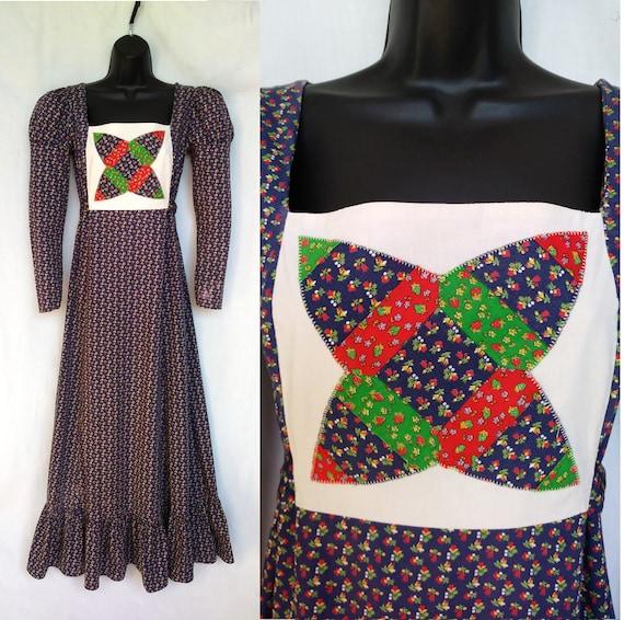 Vintage 1970s Maxi Dress, Mountain Artisans, Indi… - image 1