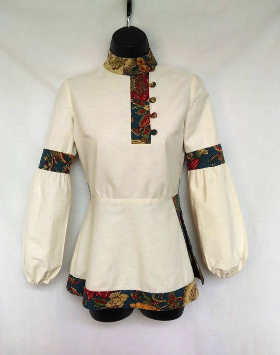 Late 1960s, Early 1970s Cossack Blouse, Made in In